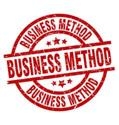 Business method round red grunge stamp vector