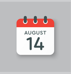 Calendar icon day 14 august date days year vector