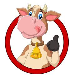 cartoon happy cow giving thumb up vector image