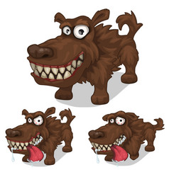 Cartoon smiling and mad dog pet vector
