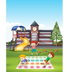 Children playing twister at school lawn vector image