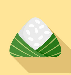 Chinese rice dumplings icon flat style vector