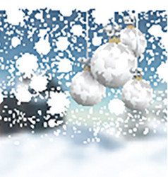 Christmas baubles on a defocussed winter landscape vector image