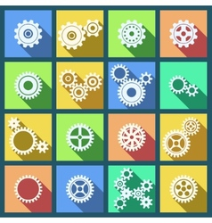 collection cogs and gears icons set vector image