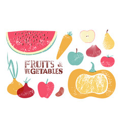 collection of retro fruits and vegetables vector image