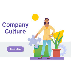 Company culture conceptbeautiful young african vector
