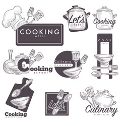 Cooking culinary school logo sketch icons vector