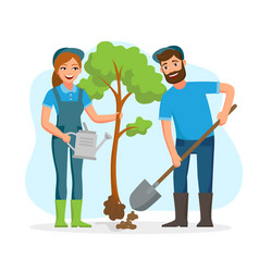 Couple of gardeners farmers planting tree in the vector