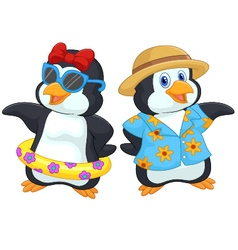Cute cartoon penguin in summer holiday vector image