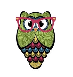 Cute owl with glasses vector image