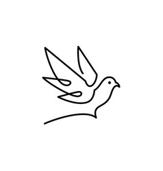 Dove logo icon line outline monoline vector