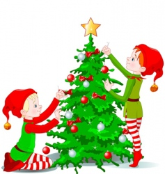 Elves decorate a christmas tree vector