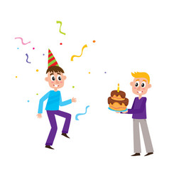 flat birthday party scenes set vector image