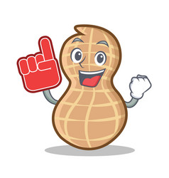 Foam finger peanut character cartoon style vector
