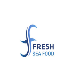 fresh sea food emblem vector image