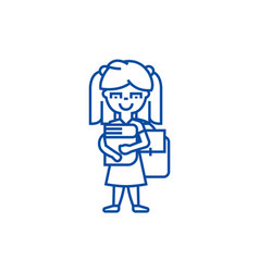 girl in school with book and backpack line icon vector image