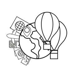 Globe with hot air balloons vector