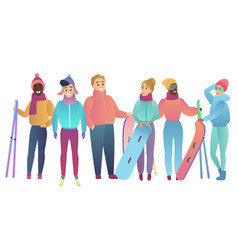 group cute cartoon skiers and snowboarders vector image