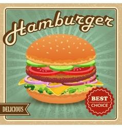 Hamburger retro poster vector
