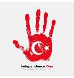 Handprint with the Flag of Turkey in grunge style vector