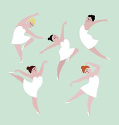 happy plus size dancing girls set body positive vector image