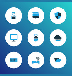 hardware icons colored set with computer mouse vector image
