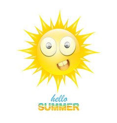 Hello summer label with smiling shiny sun vector