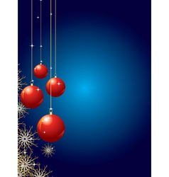 holiday background with baubles and snowflakes vector image