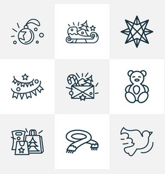 holiday icons line style set with origami paper vector image