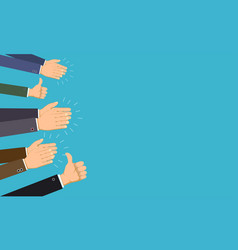 human hands clap and applaud thumb up gesture vector image