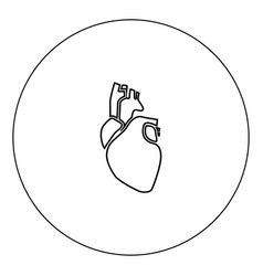 human heart icon black color in circle vector image