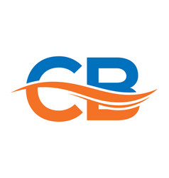 Initial letter logo cb with a wave letter logo cb vector