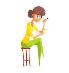 Journalist in glasses taking notes official press vector