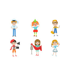 kids different professions set sailor clown vector image