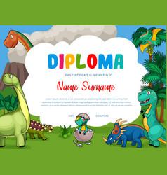 kids diploma with cartoon cute dinosaurs vector image
