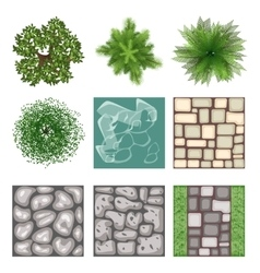 Landscape design top view elements vector
