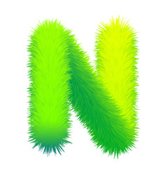 Letter n fluffy fur texture decorative green vector