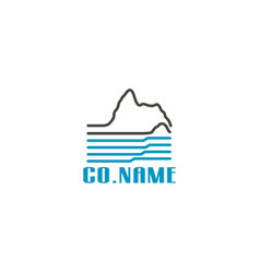 linear mountain and river logo design vector image