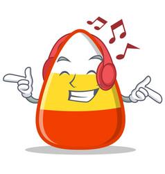 Listening music candy corn character cartoon vector