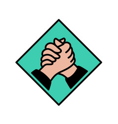 logo handshake flat outline style solidarity vector image