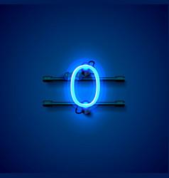 neon city font sign number 0 signboard zero vector image