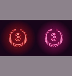 Neon icon of red and pink third place vector