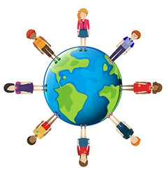 Network of people around the globe vector