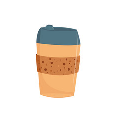 paper or plastic take away cup of coffee with cap vector image