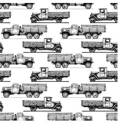 Pattern with retro lorry vector