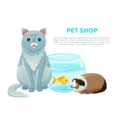 pet shop banner with various animals and text vector image