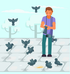 photographer taking picture of pigeons vector image