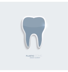 Plastic icon tooth symbol vector image