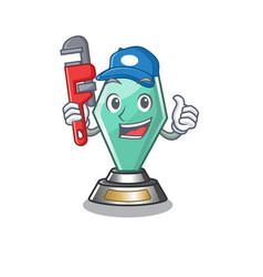 Plumber acrylic trophy stored in cartoon drawer vector
