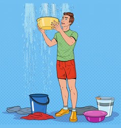 Pop art man holding bucket and collecting water vector